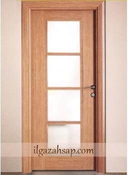 Pvc Kapı Camlı Kademeli Koyu Bambu