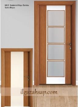 Pvc Kapı Kademeli Koyu Bambu - Saten Beyaz