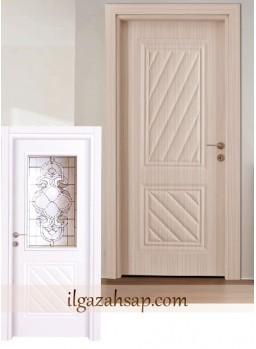 Pvc Kapı Soft Doğal Akçaağaç - Sedef Beyaz Camlı