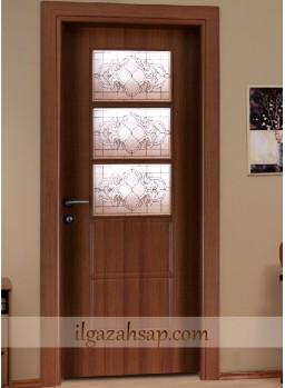 Pvc Kapı Koyu Ceviz Camlı